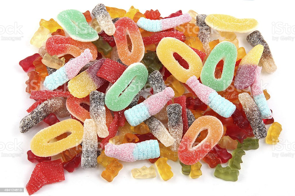 Candies in a variety of multi colors and shapes. stock photo