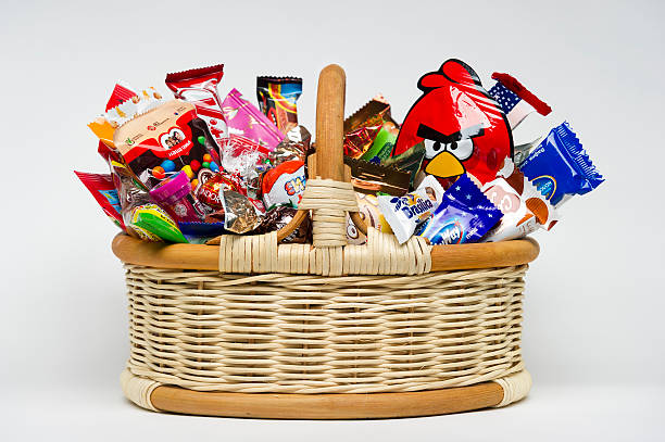 Candies in basket stock photo