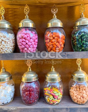 Turkish candy shop in istanbul/balat. You can find home made candies all in different colors