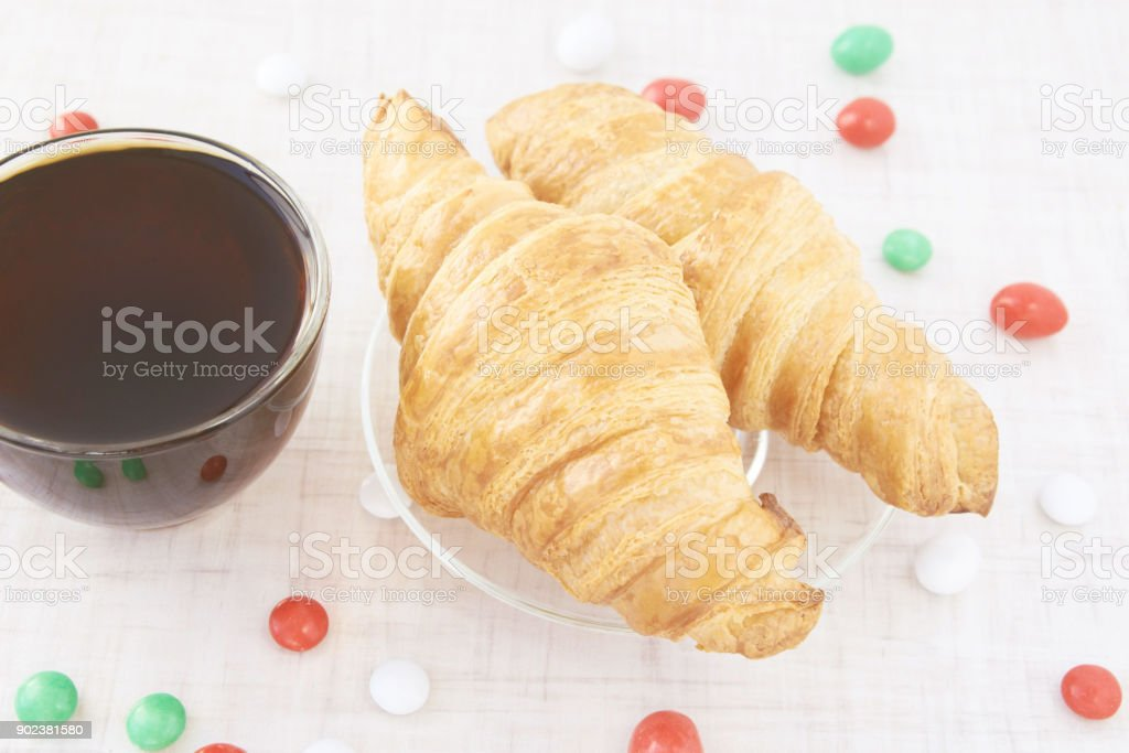 Candies. New Year. Tea. Croissants. Sweets stock photo