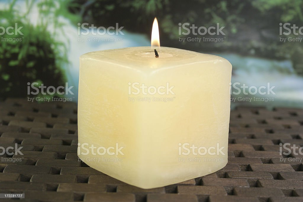 candle and a waterfall - Royalty-free Alternative Medicine Stock Photo