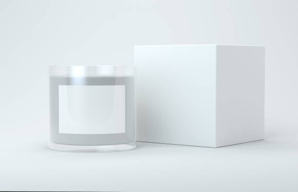 Candle and box mock up stock photo