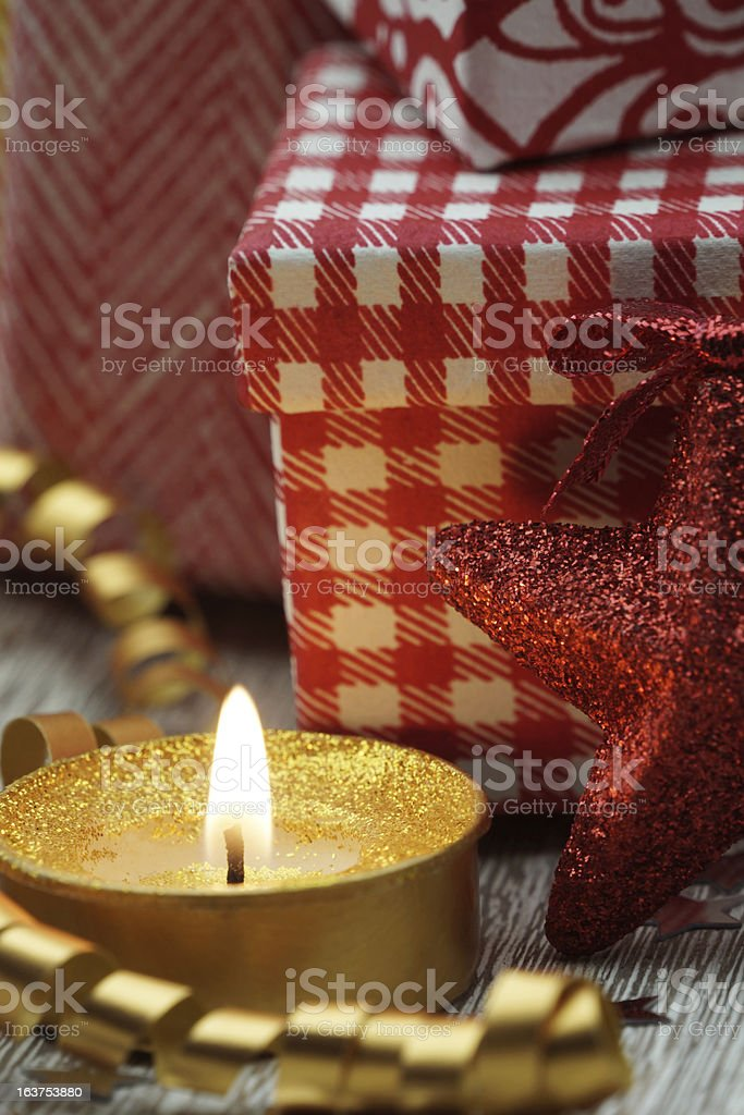 Candle and christmas decoration royalty-free stock photo