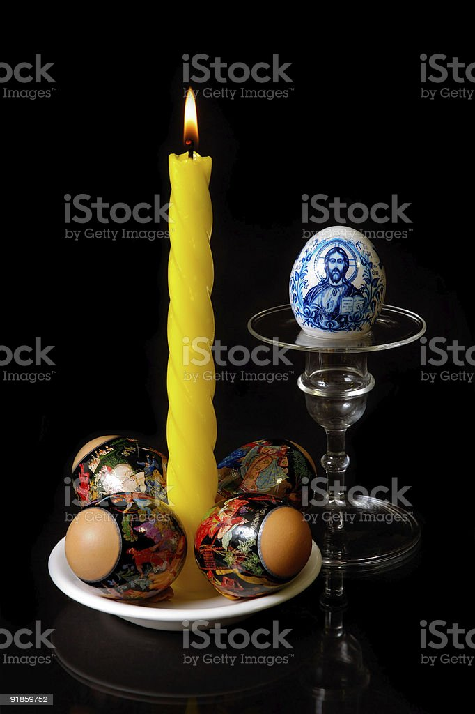 Candle and eggs easter still-life royalty-free stock photo