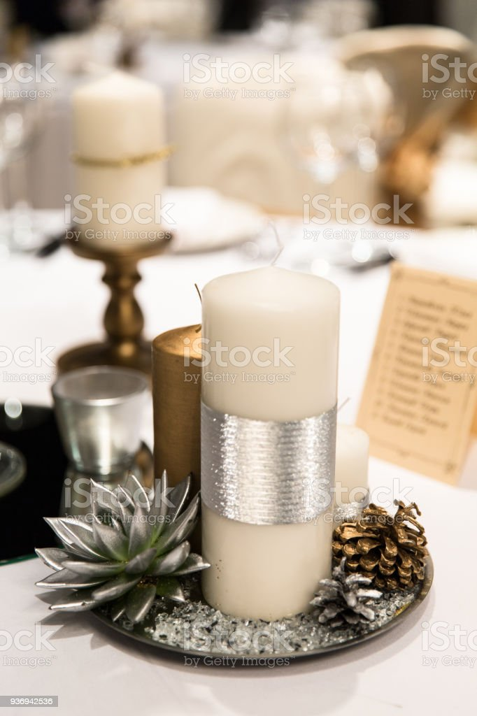 Candle And Flower Decoration For An Event Party Or Wedding
