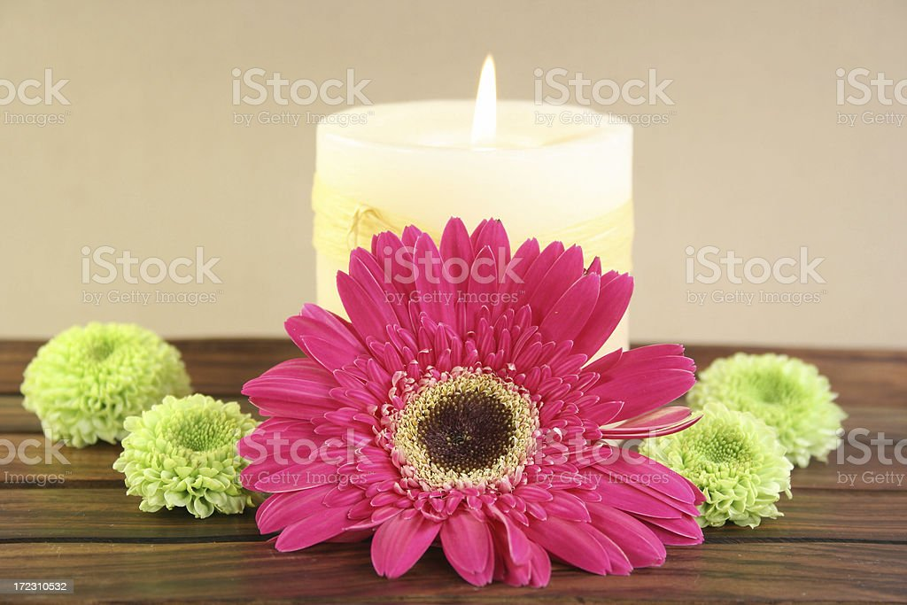 candle and flowers royalty-free stock photo
