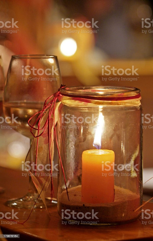 Candle and Glass of Wine royalty-free stock photo