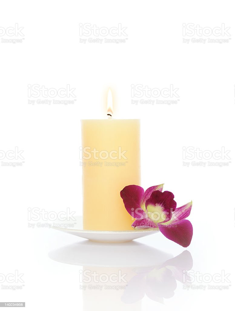 Candle and Orchid royalty-free stock photo