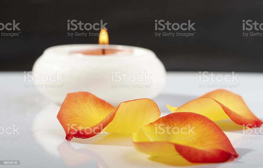 Candle And Rose Petals Stock Photo & More Pictures of