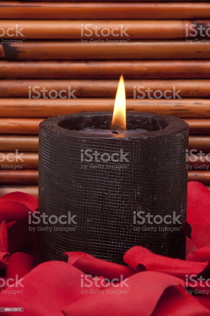 Candle and rose petals royalty-free stock photo