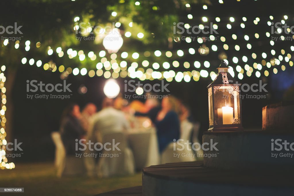 Image of: Candle And String Lights Outdoor Dinner Stock Photo Download Image Now Istock