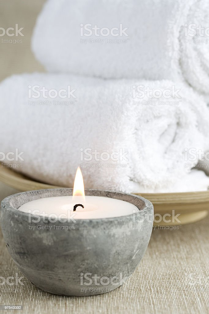 Candle and Towels royalty-free stock photo