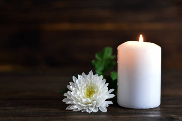 candle and white chrysanthemum flower - monumento commemorativo foto e immagini stock