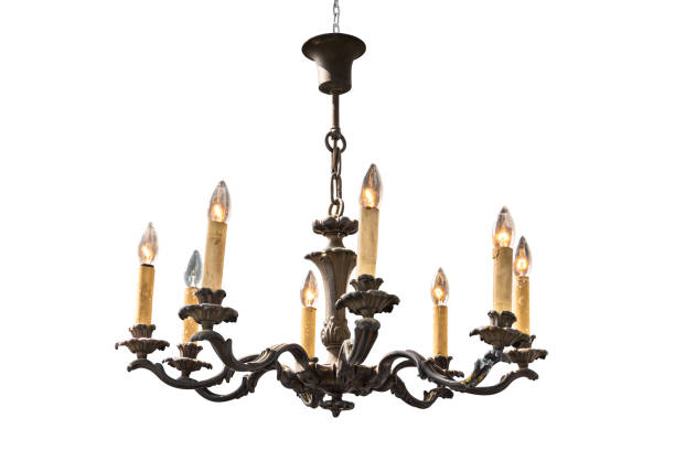 Candle chandelier lamp isolated on white background. Close up candle chandelier lamp isolated on white background with clipping path. chandelier stock pictures, royalty-free photos & images
