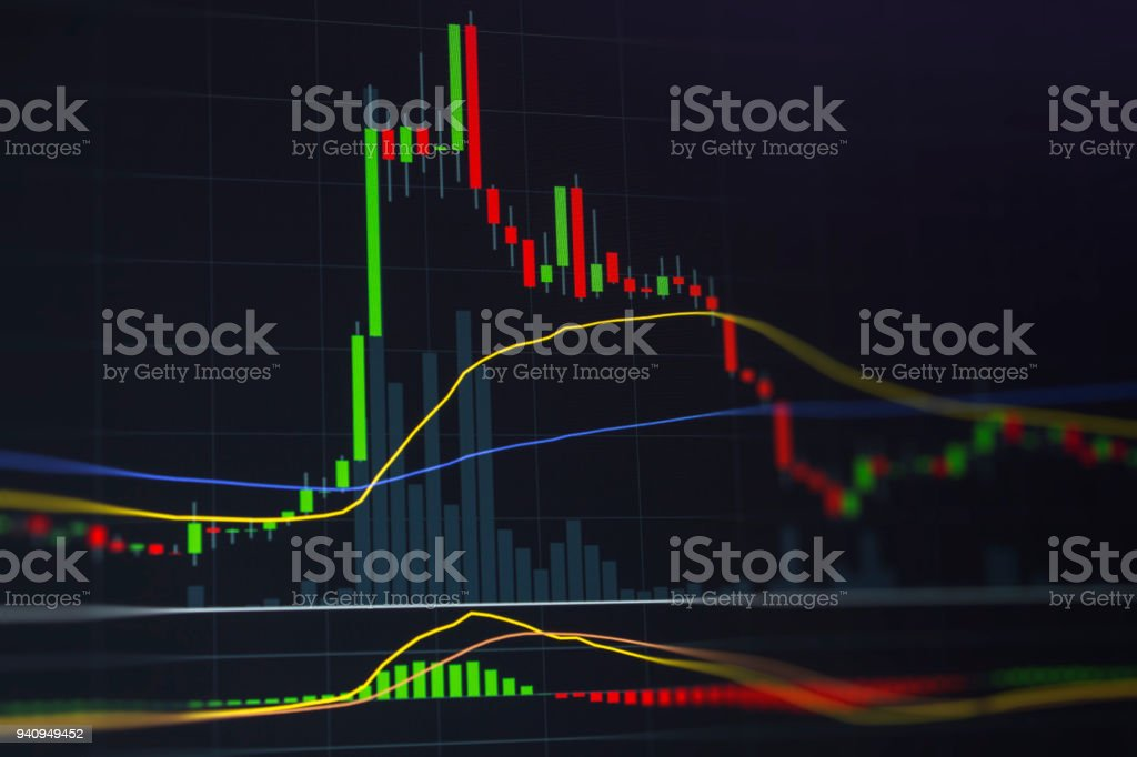 Candle chart for capital gain in financial business concept.  Happy investor and winner for large profits playing the market. stock photo