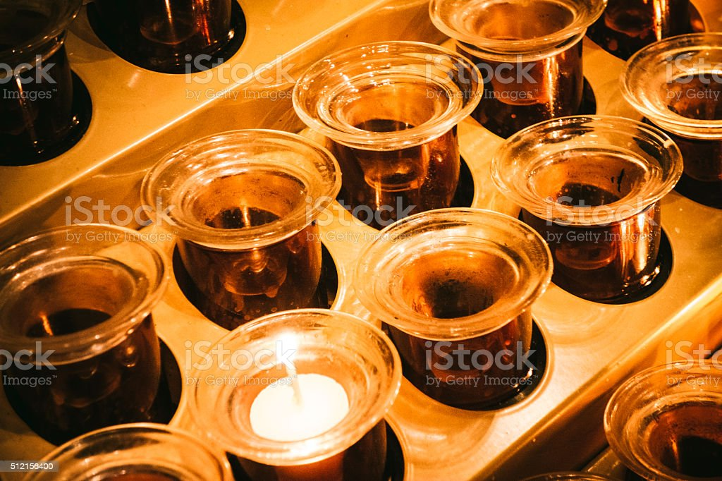 Candle Devotional Area In A Church stock photo