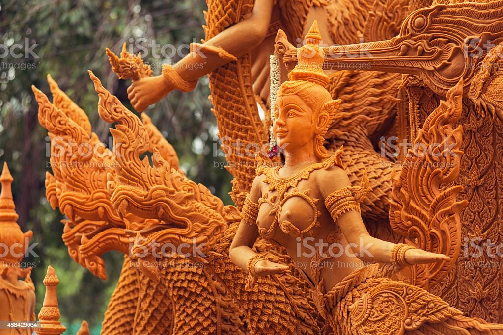 Candle Festival carving pattern literature. stock photo