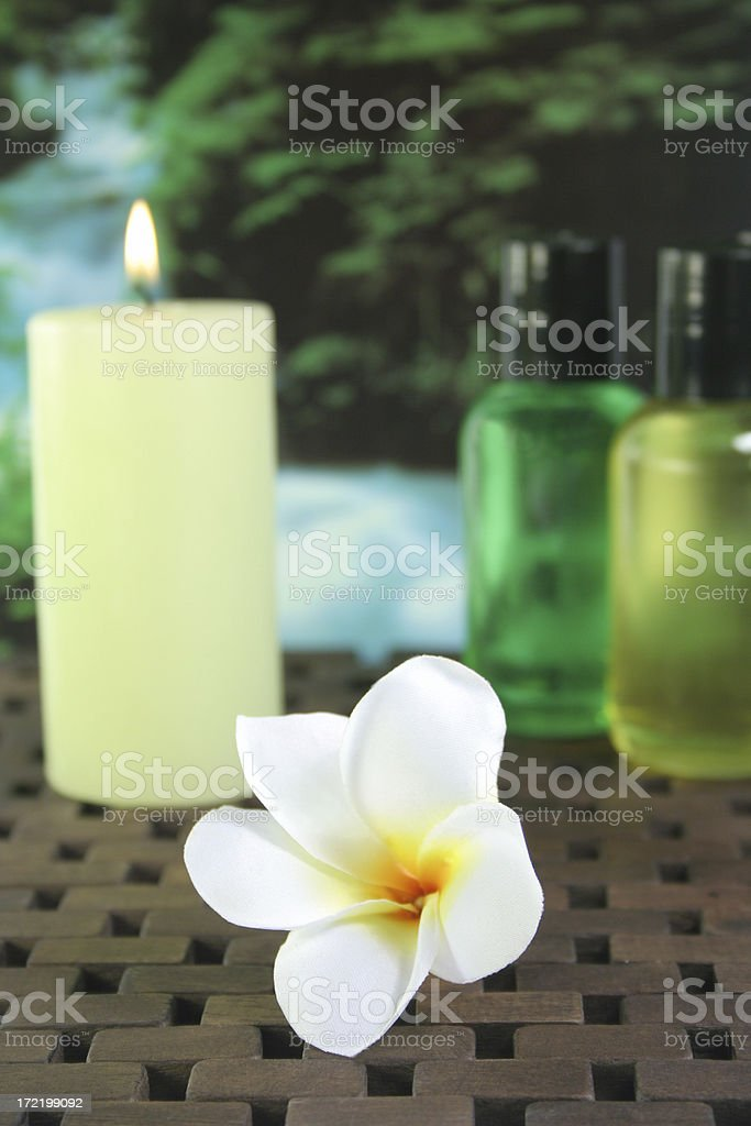 candle, flower and gels - Royalty-free Alternative Medicine Stock Photo