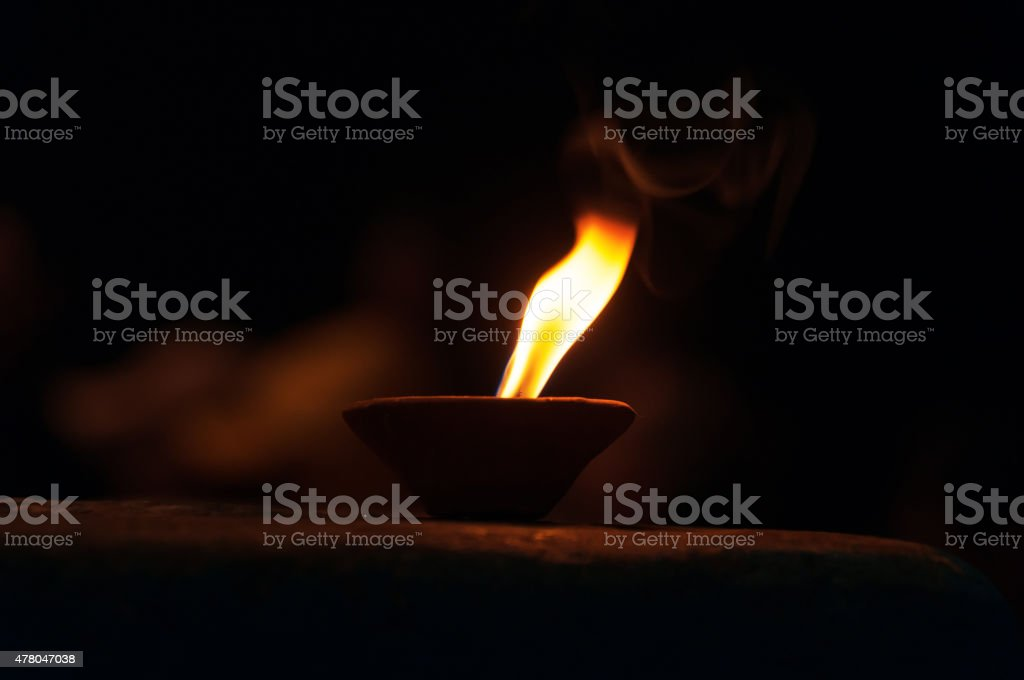 Candle for Ganga Aarti ritual stock photo
