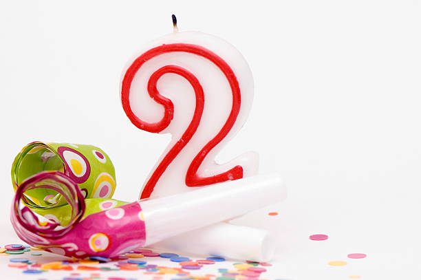 Candle For Second Birthday stock photo