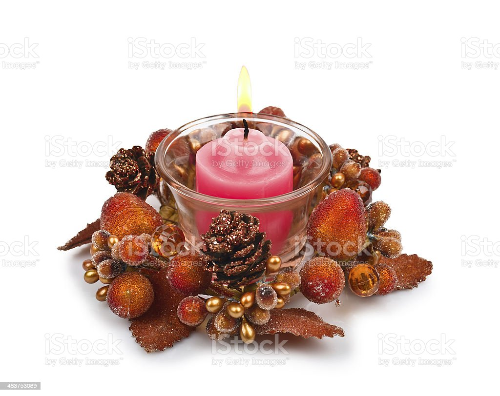 Candle in a Christmas candlestick royalty-free stock photo