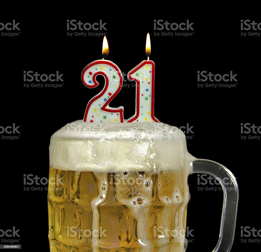 Alcohol Drink Drop Number 21 20 24 Years Candle In Beer For 21st Birthday