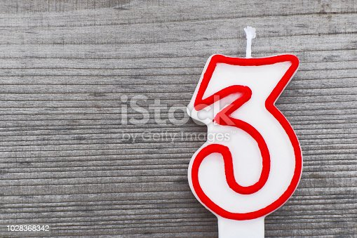 istock Candle in shape of number 3 1028368342