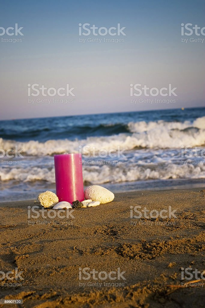 Candle in the beach royalty free stockfoto