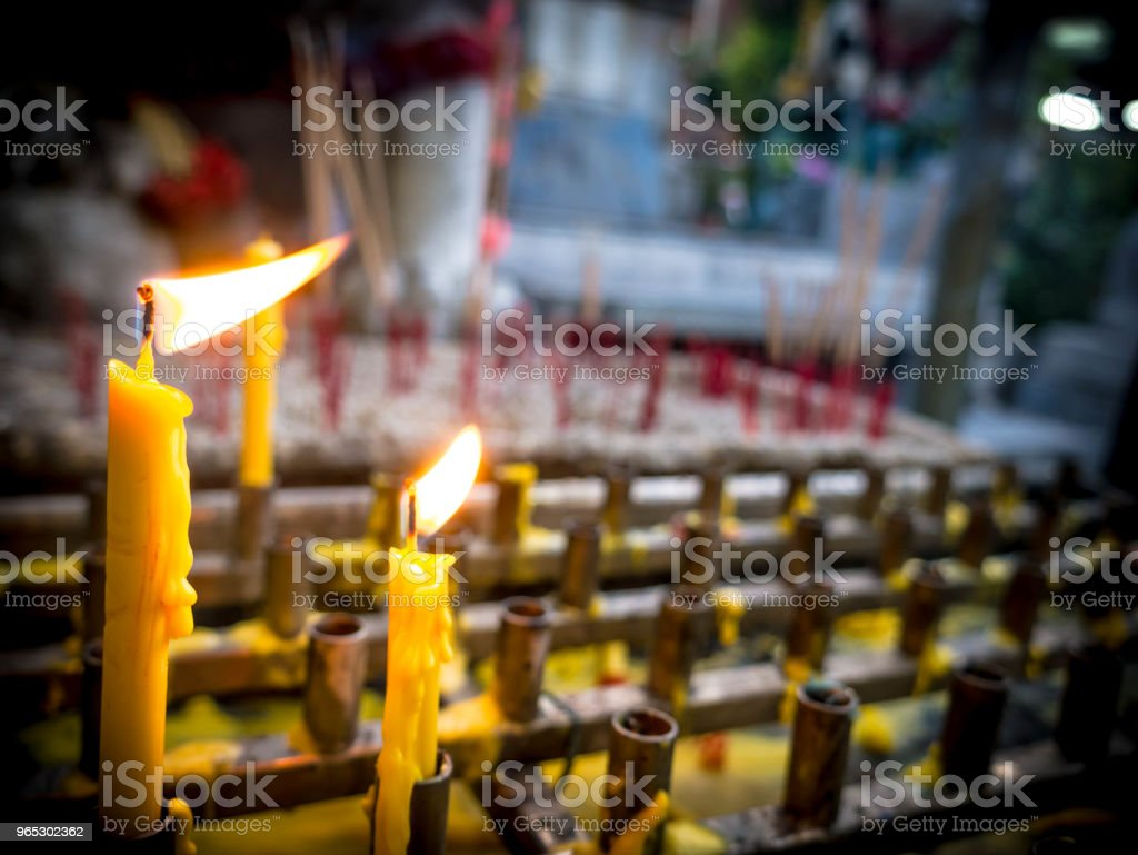 candle light in temple stock photo