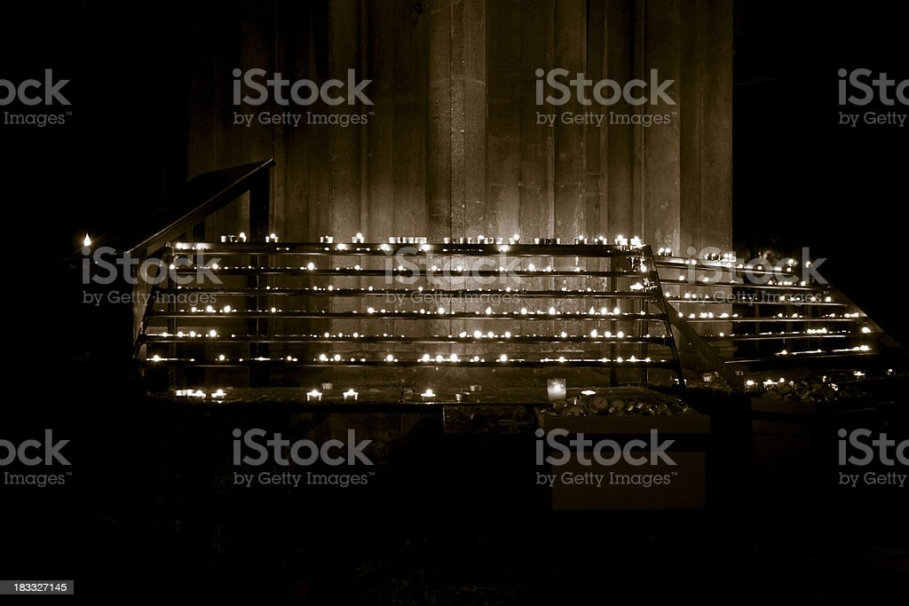Candle lights in a Cathedral royalty-free stock photo