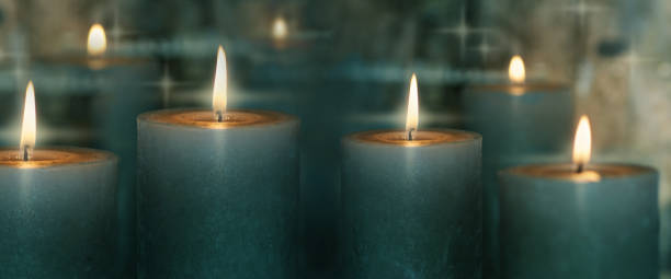 Candle lights with reflection stock photo