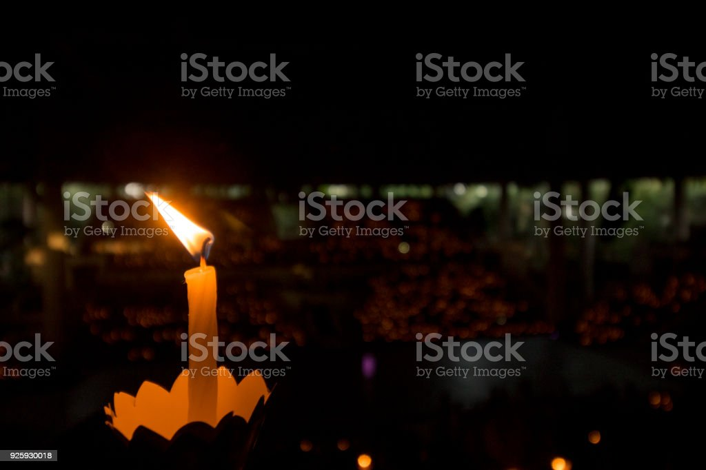 candle lit in a nightly show stock photo