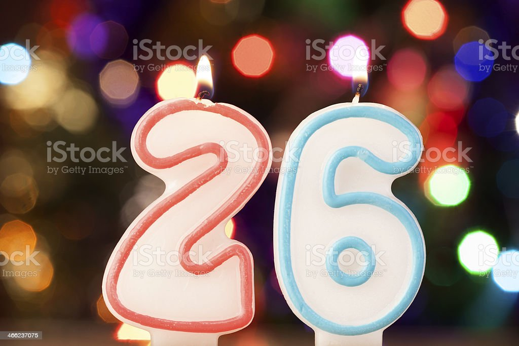 Candle number 26 stock photo