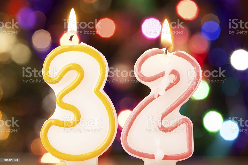 Candle number 32 stock photo
