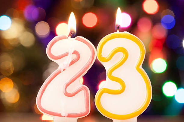 candle number - number 23 stock photos and pictures