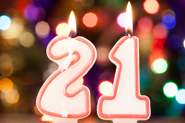 candle number - number 21 stock photos and pictures
