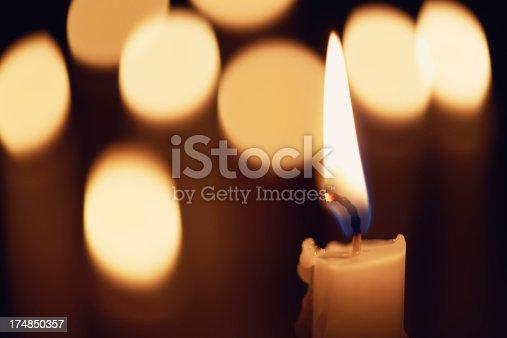 Candle on a candlelight background.fixed iameramacro shot