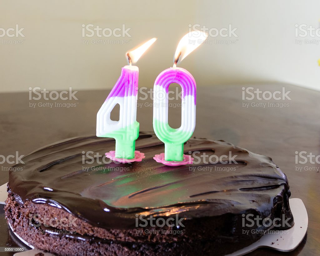 40 Candle On Chocloate Birthday Cake Stock Photo More Pictures Of