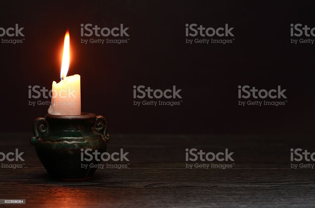 Candle On Dark stock photo
