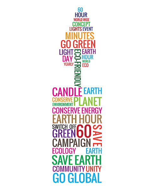 candle shaped words consisting of earth hour word stock photo