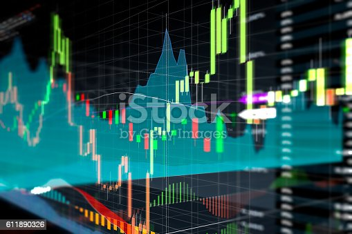 istock Candle stick graph and bar chart of stock market investment 611890326