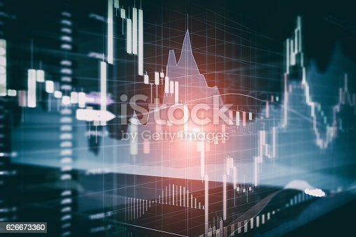 istock Candle stick graph and bar chart of stock market investment 626673360