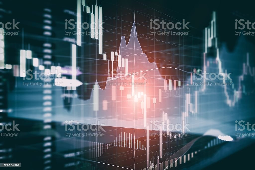 Candle stick graph and bar chart of stock market investment - foto de stock