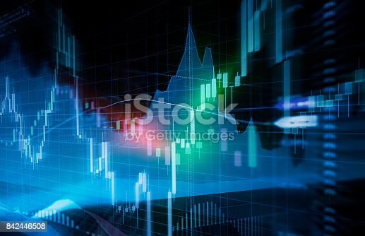 istock Candle stick graph and bar chart of stock market investment trading. 842446508