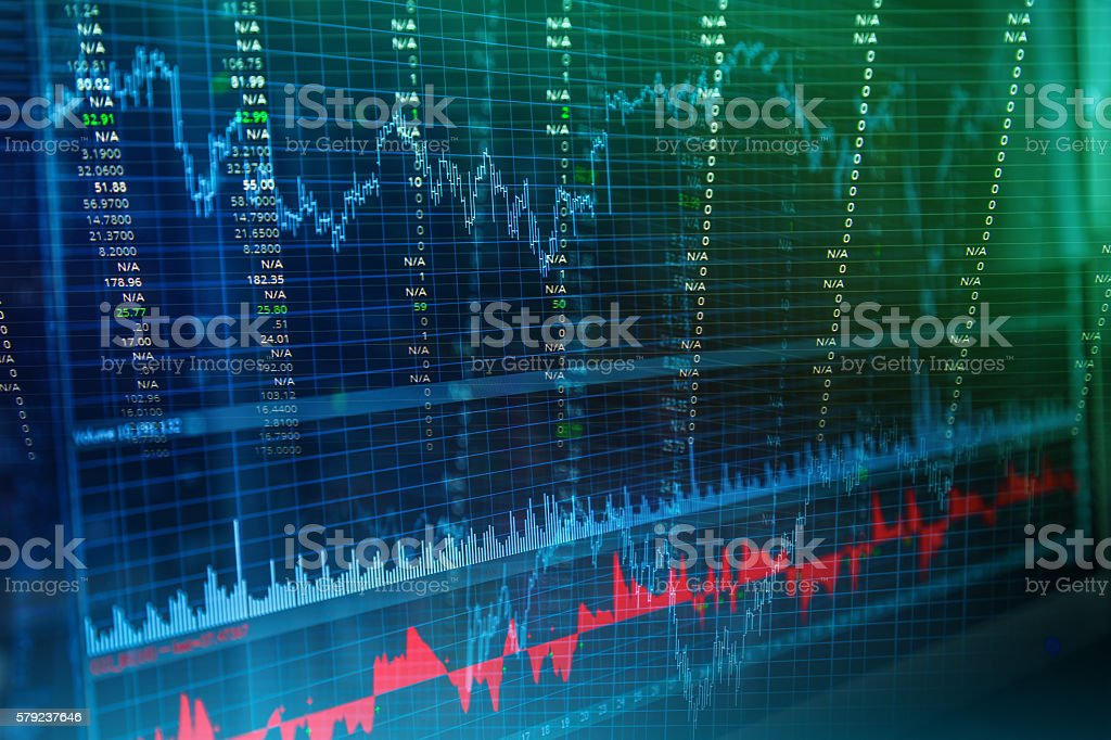 Candle stick graph chart of stock market investment trading stock photo