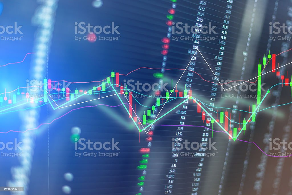 Candle sticks graph chart of stock market stock photo