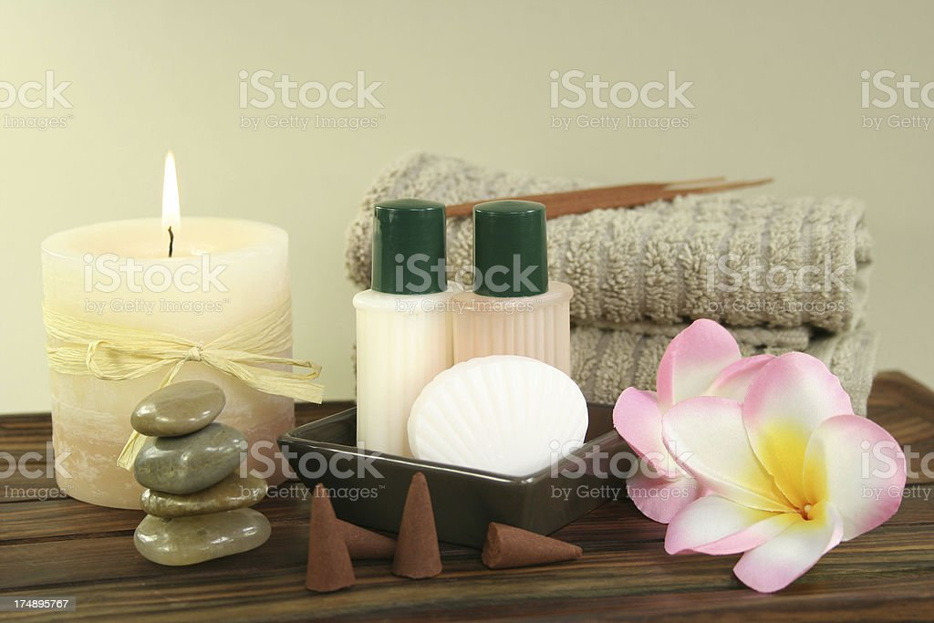 candle, towel, zen stones royalty-free stock photo