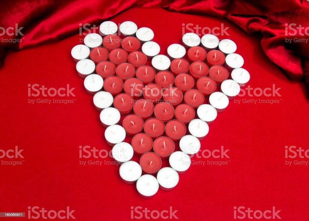 Candle Valentine on Felt and Velvet royalty-free stock photo