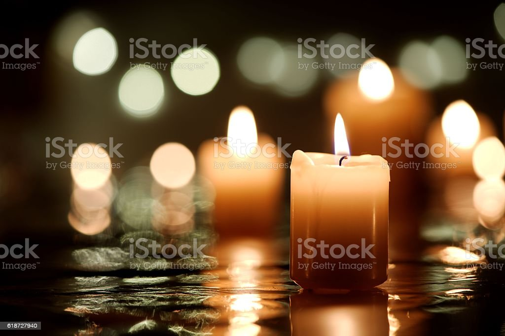 Candle with reflection - Photo