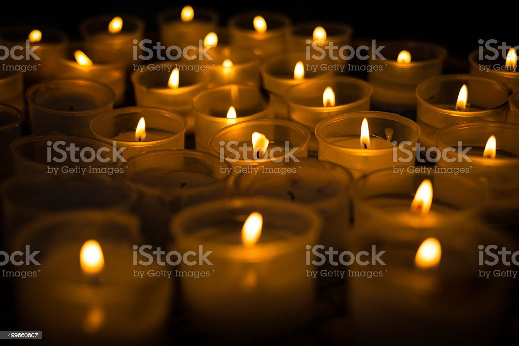Candlelight - Church candles landscape stock photo